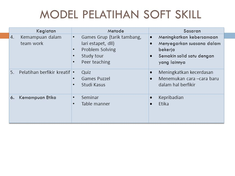 MODEL PELATIHAN SOFT SKILL