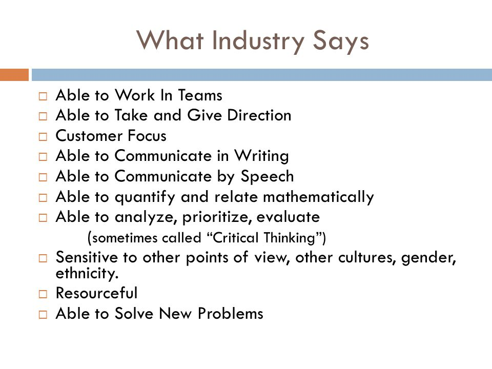 What Industry Says Able to Work In Teams