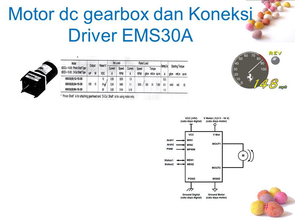 Motor dc gearbox dan Koneksi Driver EMS30A