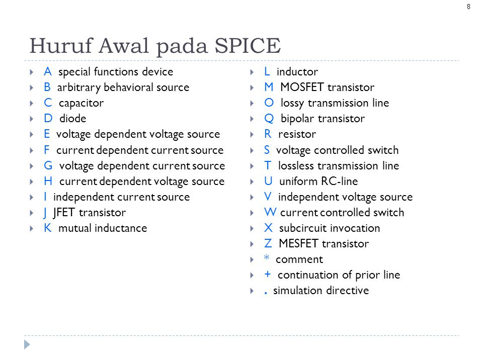 Huruf Awal pada SPICE A special functions device
