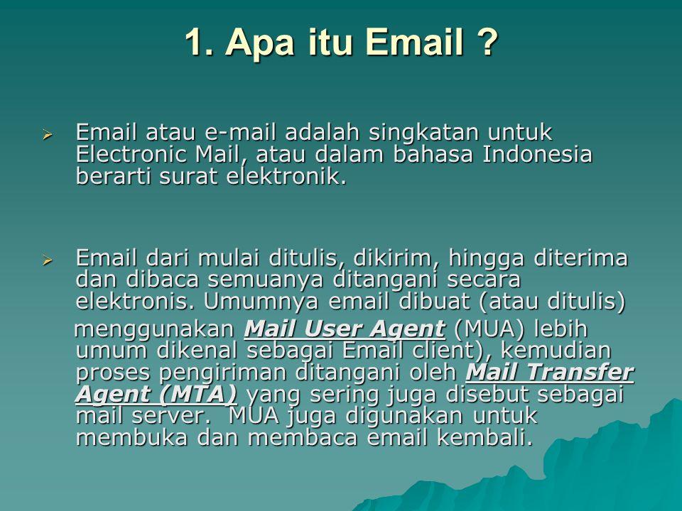 1. Apa itu Email Email atau e-mail adalah singkatan untuk Electronic Mail, atau dalam bahasa Indonesia berarti surat elektronik.