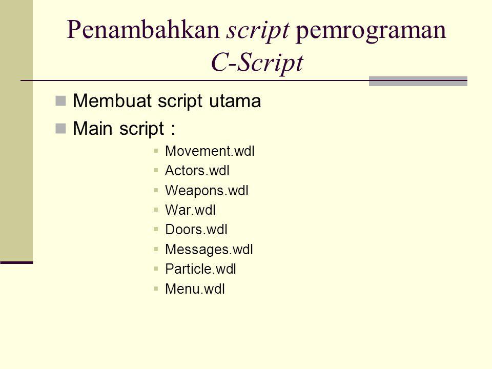 Penambahkan script pemrograman C-Script