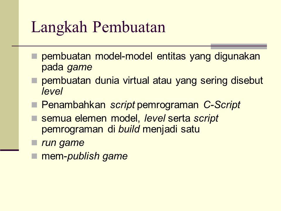 Langkah Pembuatan pembuatan model-model entitas yang digunakan pada game. pembuatan dunia virtual atau yang sering disebut level.