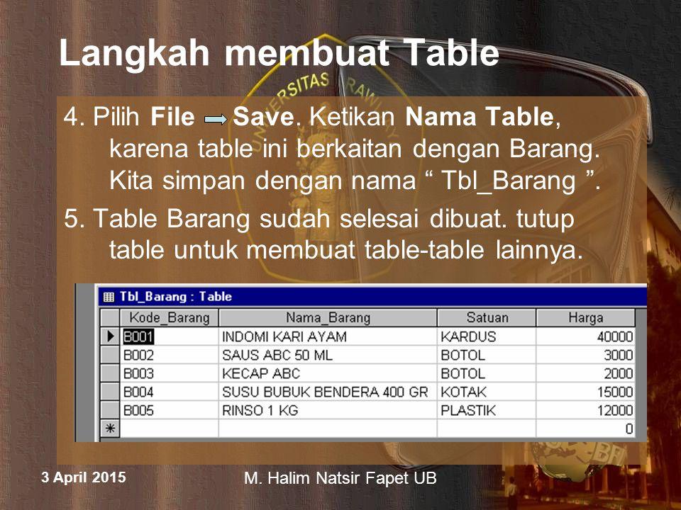Langkah membuat Table 4. Pilih File Save. Ketikan Nama Table, karena table ini berkaitan dengan Barang. Kita simpan dengan nama Tbl_Barang .