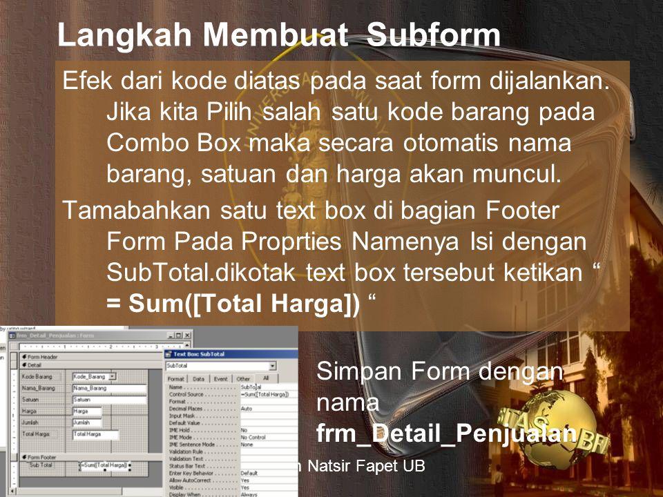 Langkah Membuat Subform