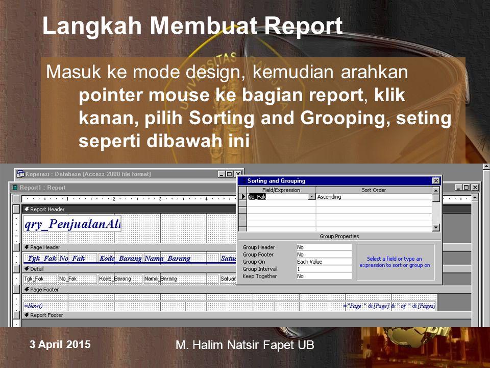 Langkah Membuat Report