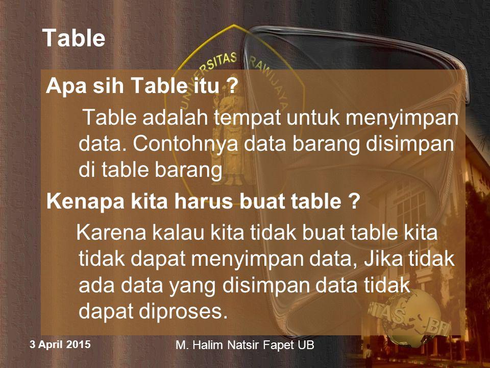 Table Apa sih Table itu Table adalah tempat untuk menyimpan data. Contohnya data barang disimpan di table barang.