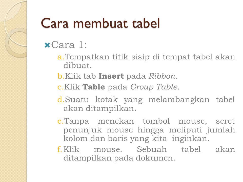 Cara membuat tabel Cara 1: