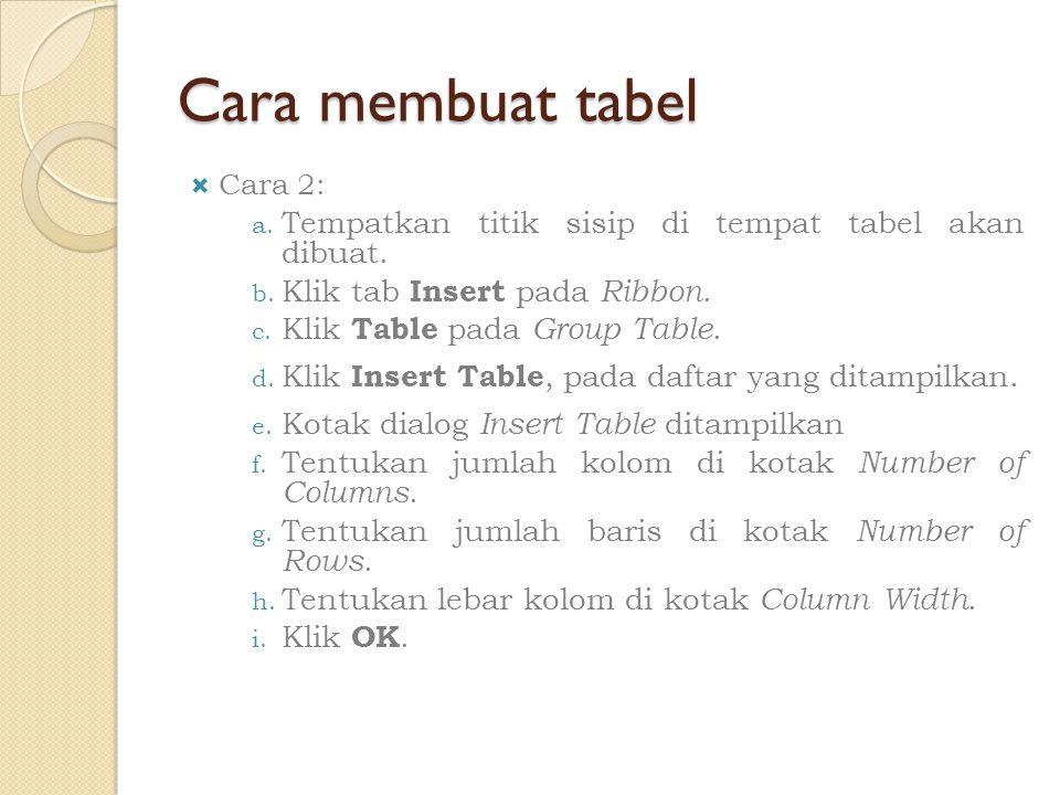 Cara membuat tabel Tempatkan titik sisip di tempat tabel akan dibuat.