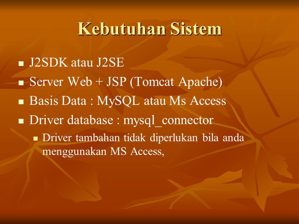 Kebutuhan Sistem J2SDK atau J2SE Server Web + JSP (Tomcat Apache)