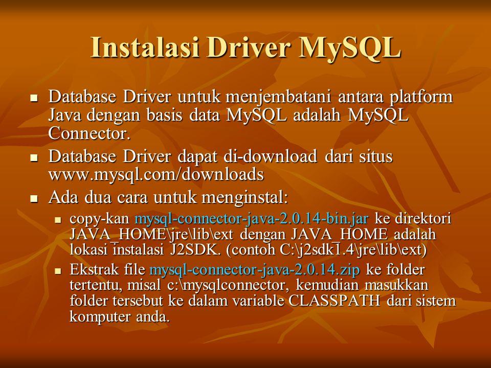 Instalasi Driver MySQL