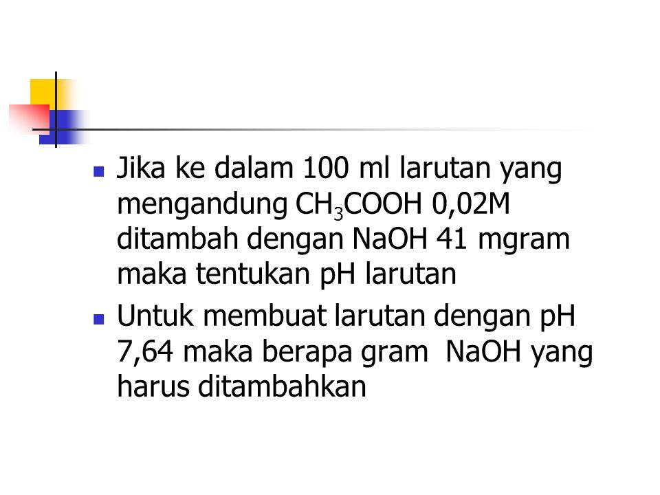 Jika ke dalam 100 ml larutan yang mengandung CH3COOH 0,02M ditambah dengan NaOH 41 mgram maka tentukan pH larutan