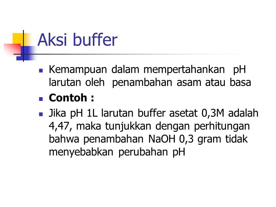 Aksi buffer Kemampuan dalam mempertahankan pH larutan oleh penambahan asam atau basa. Contoh :