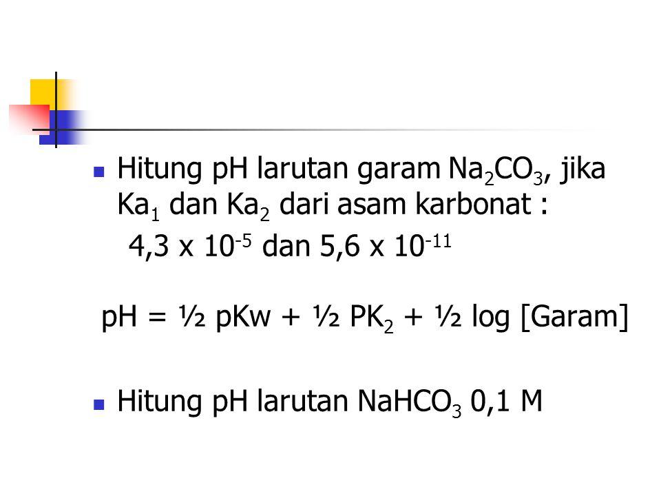 Hitung pH larutan garam Na2CO3, jika Ka1 dan Ka2 dari asam karbonat :