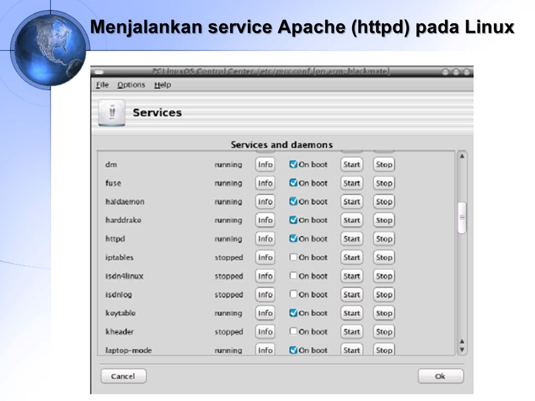 Menjalankan service Apache (httpd) pada Linux