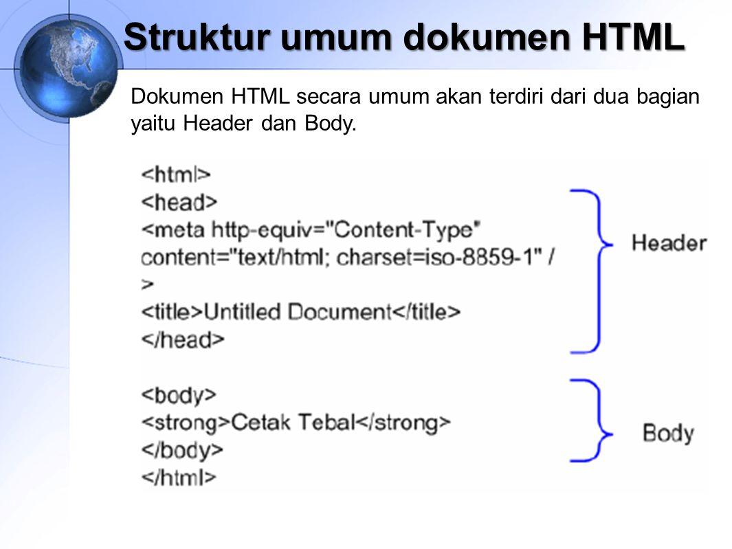 Struktur umum dokumen HTML