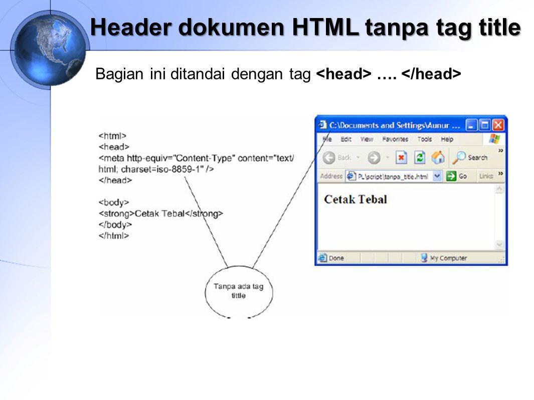 Header dokumen HTML tanpa tag title