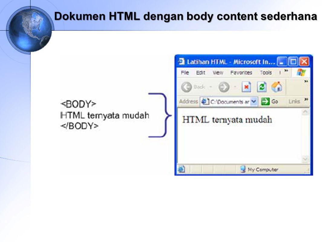 Dokumen HTML dengan body content sederhana
