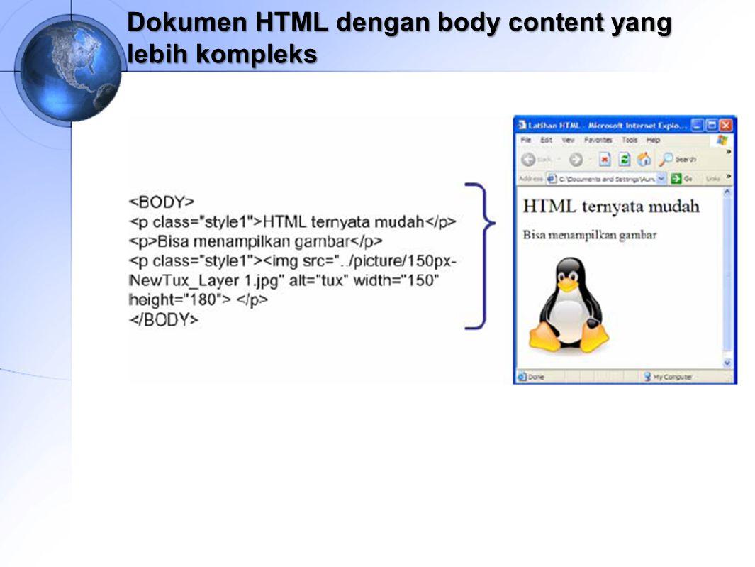 Dokumen HTML dengan body content yang lebih kompleks