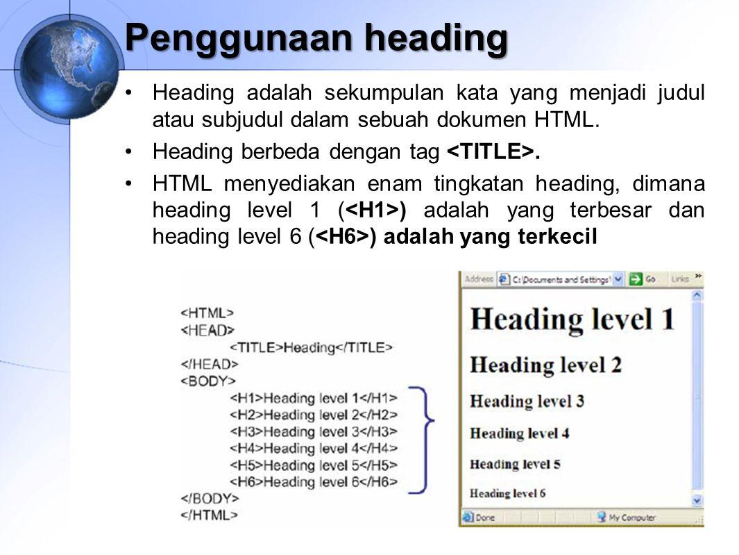 Penggunaan heading Heading adalah sekumpulan kata yang menjadi judul atau subjudul dalam sebuah dokumen HTML.