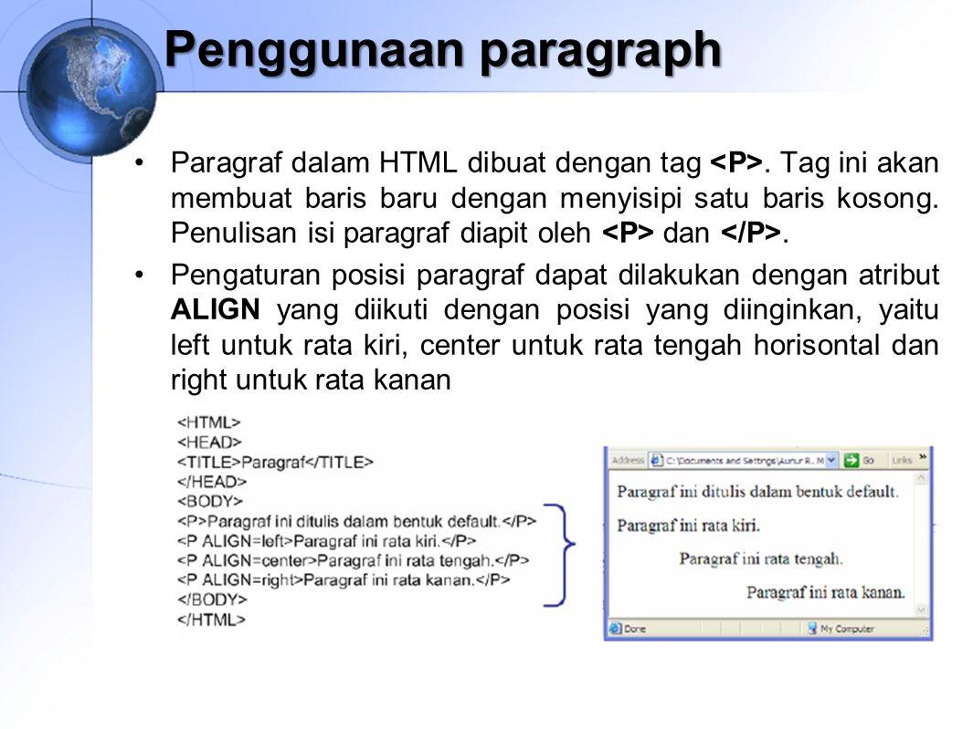 Penggunaan paragraph