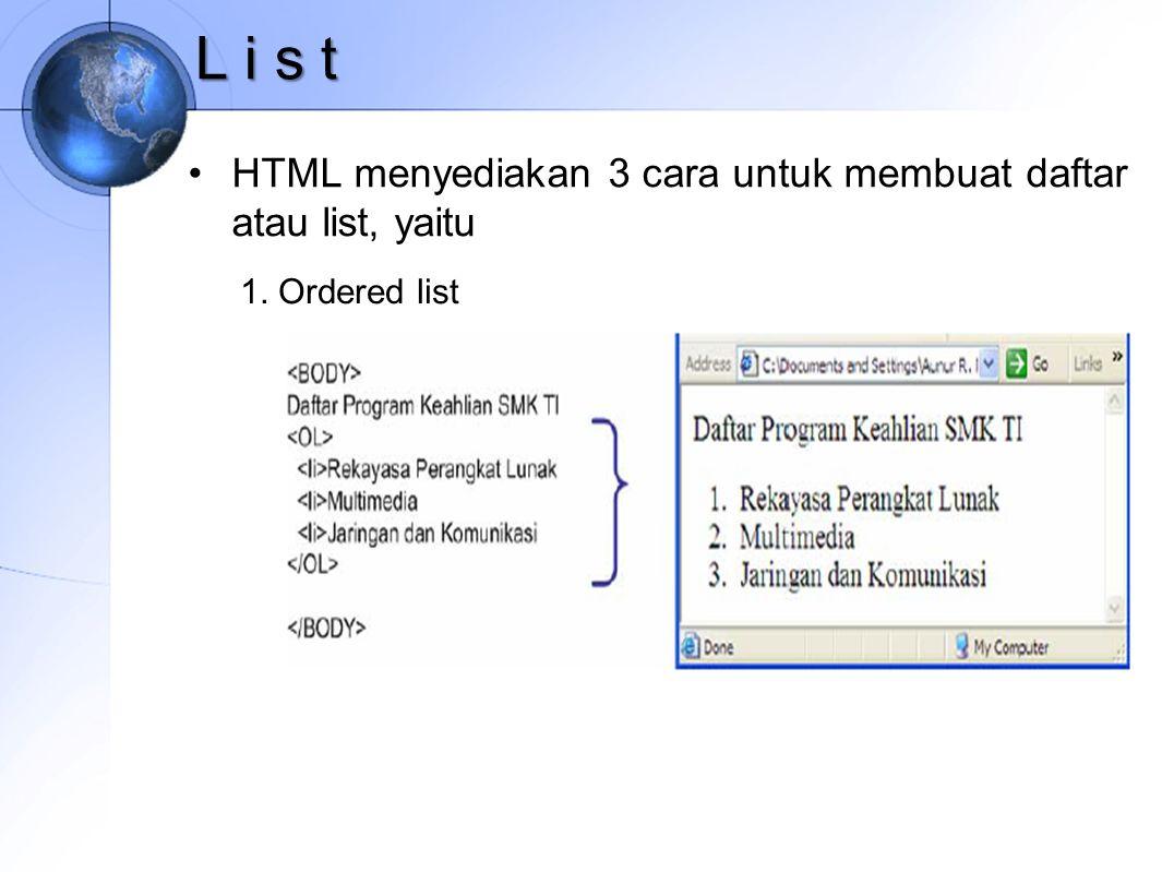 L i s t HTML menyediakan 3 cara untuk membuat daftar atau list, yaitu