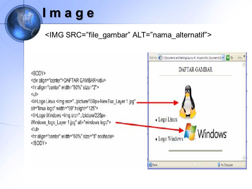 I m a g e <IMG SRC= file_gambar ALT= nama_alternatif >