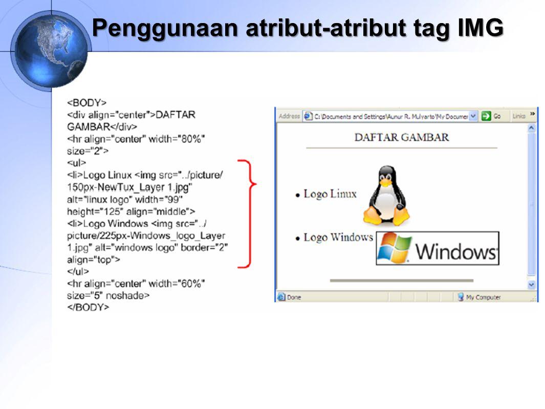 Penggunaan atribut-atribut tag IMG