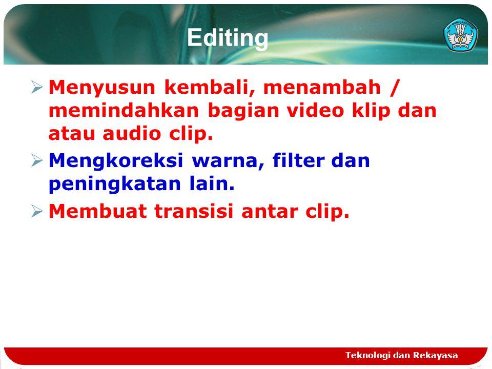 Editing Menyusun kembali, menambah / memindahkan bagian video klip dan atau audio clip. Mengkoreksi warna, filter dan peningkatan lain.