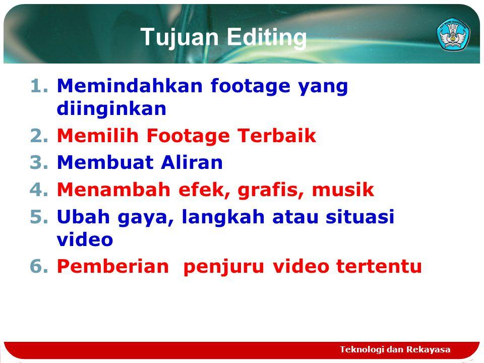 Tujuan Editing Memindahkan footage yang diinginkan