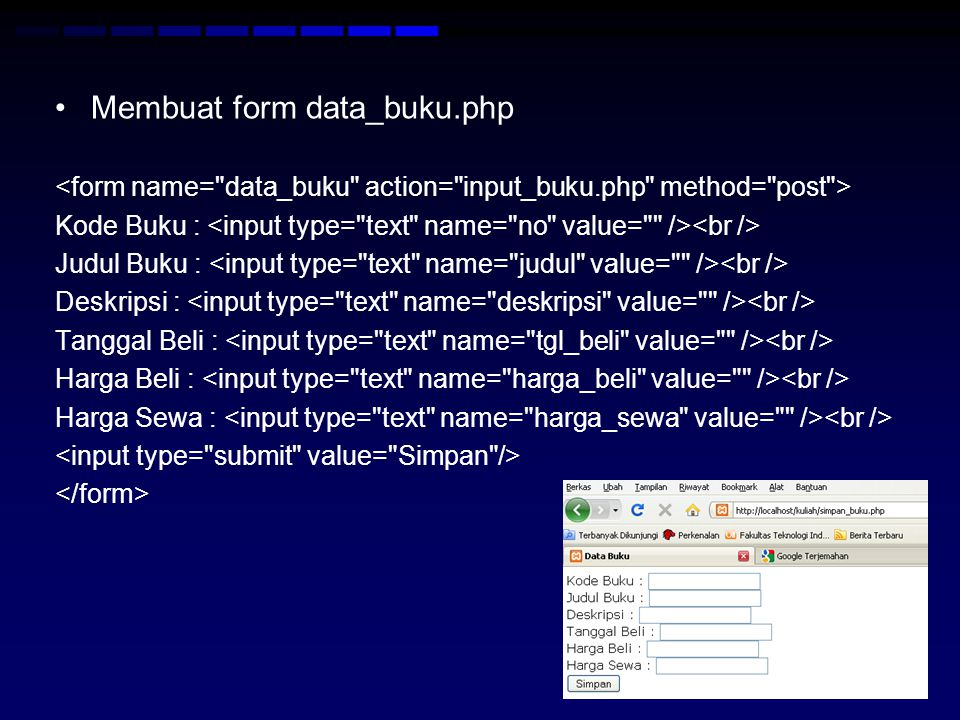 Membuat form data_buku.php