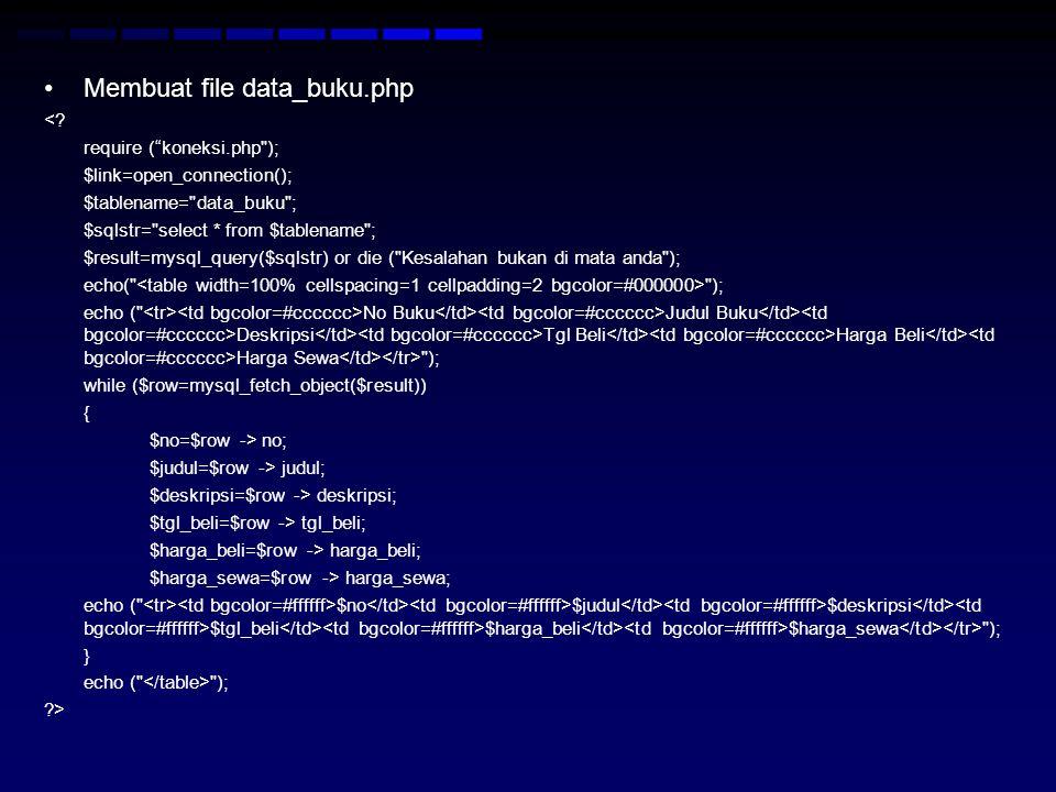 Membuat file data_buku.php