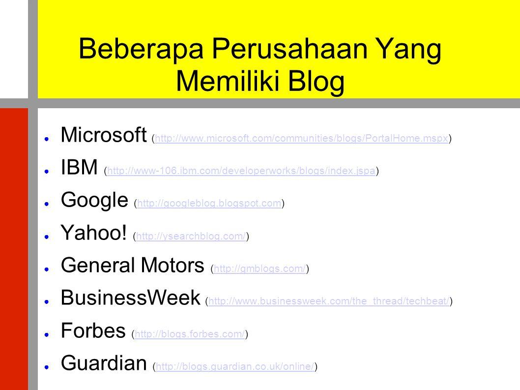 Beberapa Perusahaan Yang Memiliki Blog