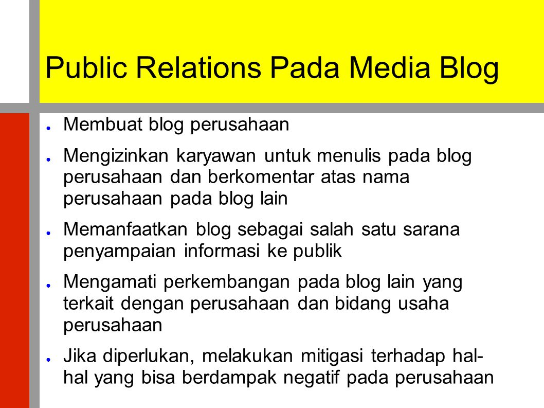 Public Relations Pada Media Blog