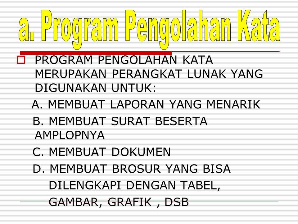 a. Program Pengolahan Kata