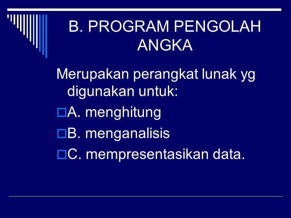 B. PROGRAM PENGOLAH ANGKA