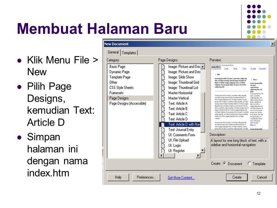 Membuat Halaman Baru Klik Menu File > New