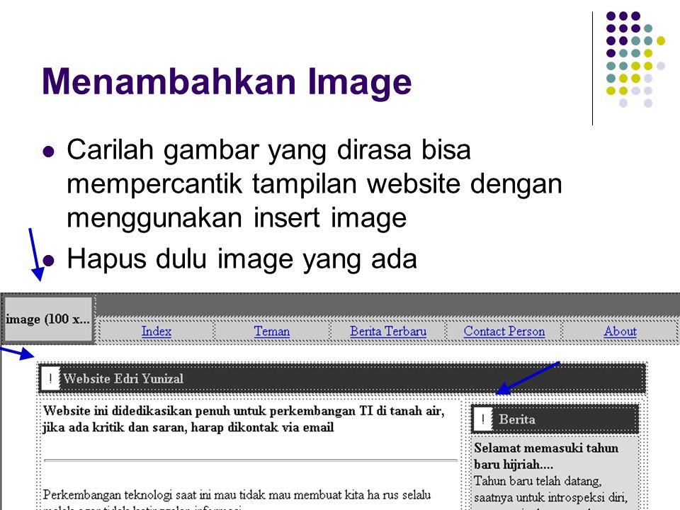 Menambahkan Image Carilah gambar yang dirasa bisa mempercantik tampilan website dengan menggunakan insert image.