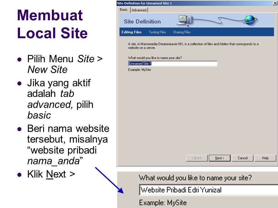 Membuat Local Site Pilih Menu Site > New Site