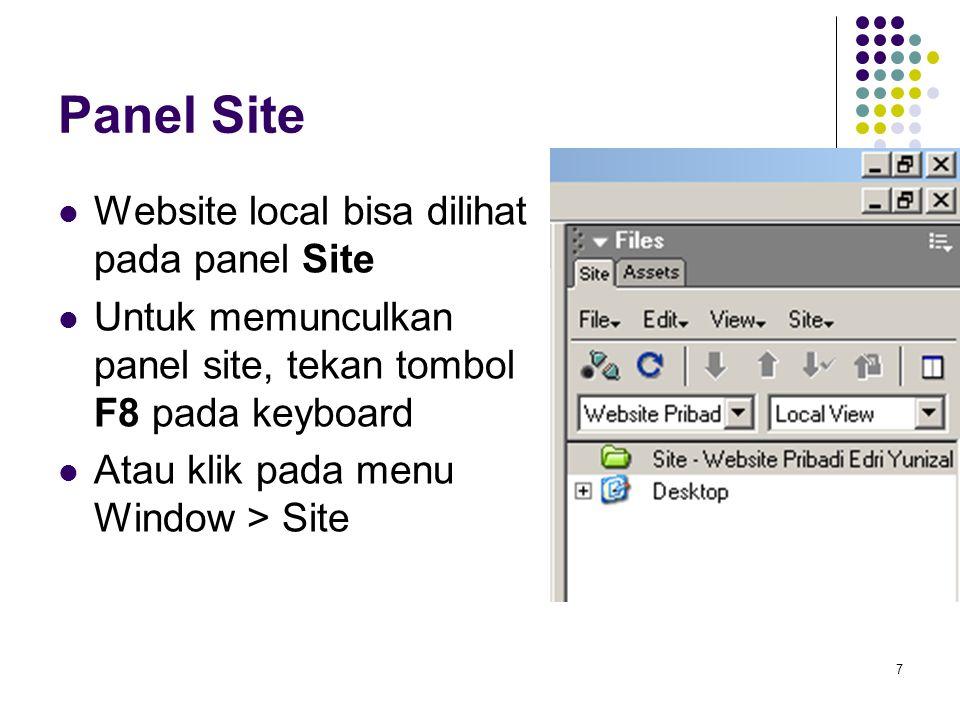 Panel Site Website local bisa dilihat pada panel Site