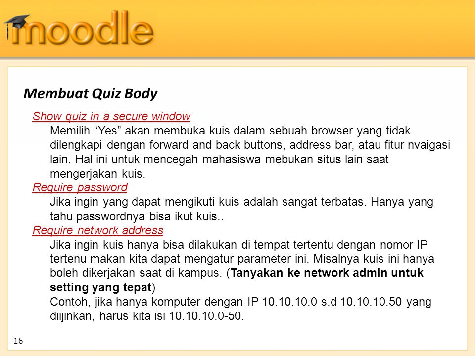 Membuat Quiz Body Show quiz in a secure window