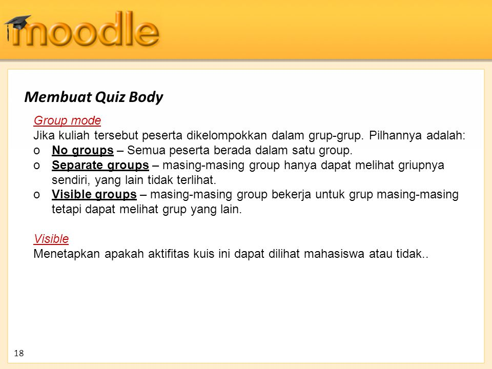 Membuat Quiz Body Group mode