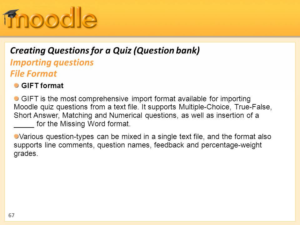 Creating Questions for a Quiz (Question bank)