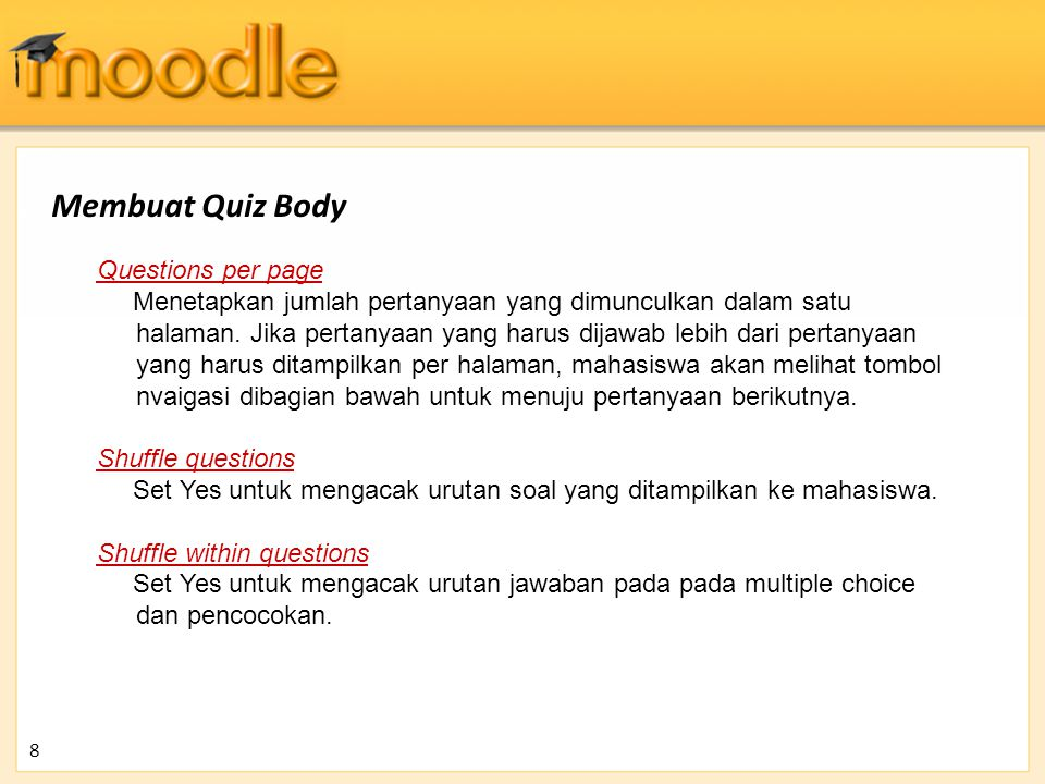 Membuat Quiz Body Questions per page