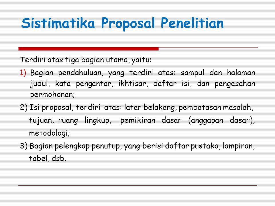 Sistimatika Proposal Penelitian