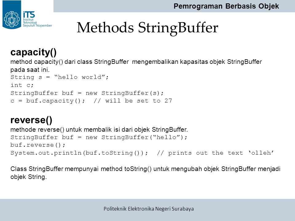 Methods StringBuffer capacity() reverse()