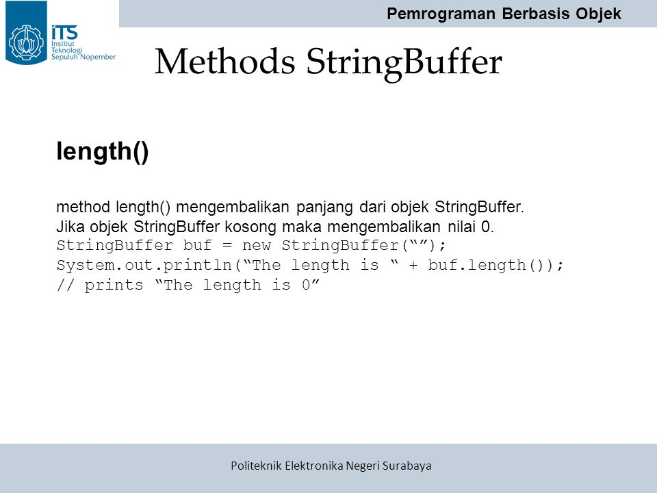 Methods StringBuffer length()