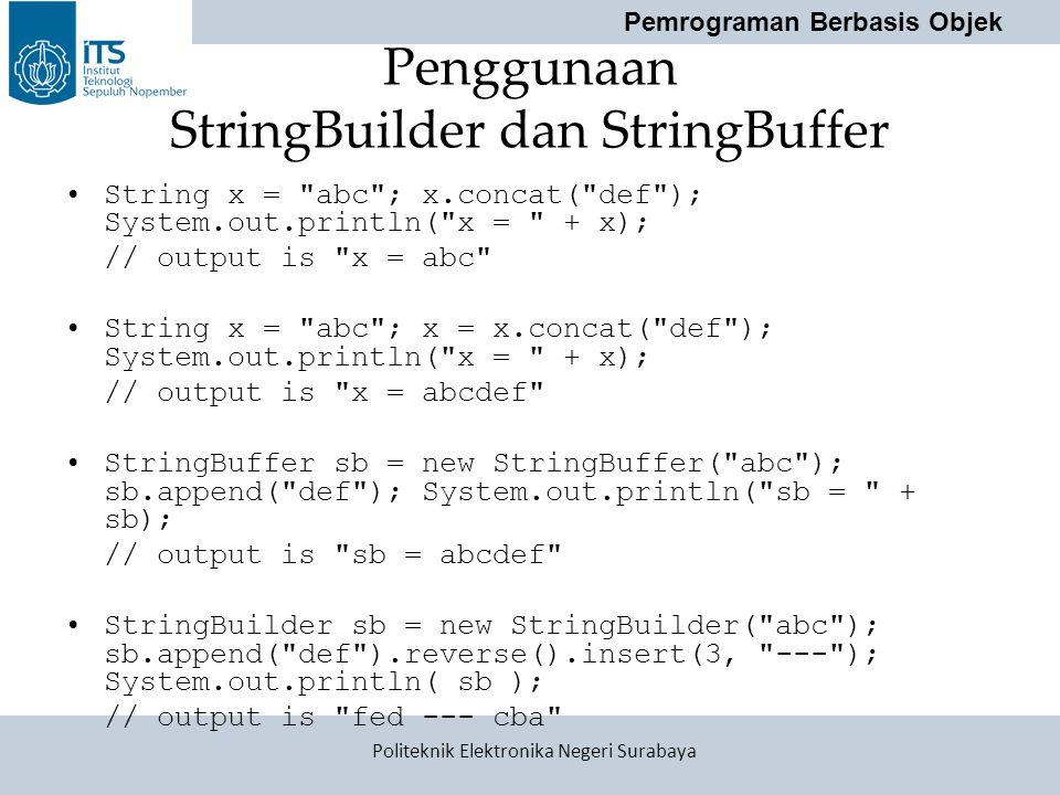 Penggunaan StringBuilder dan StringBuffer