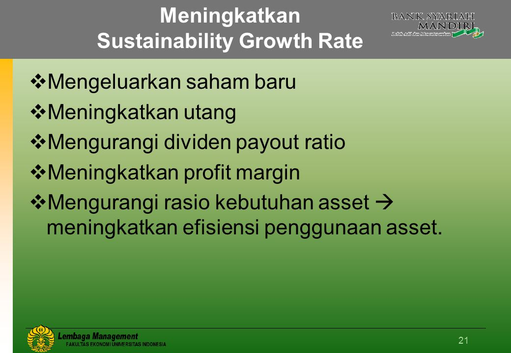 Meningkatkan Sustainability Growth Rate