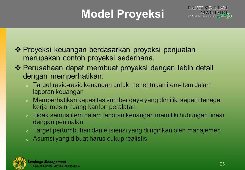 Model Proyeksi Proyeksi keuangan berdasarkan proyeksi penjualan merupakan contoh proyeksi sederhana.
